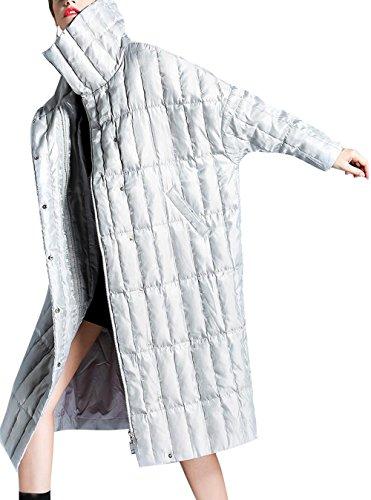 Wool Blend Trench (ZFANG Daunenjacke Frauen Mantel Baumwolle Langärmelige Jacke In Der Taille Beiläufige Winterjacke Schnee Dicke Warme Jacke , Silver gray , xs)