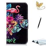TOUCASA iPhone 6S Plus Handyhülle,iPhone 6 Plus Hülle, Brieftasche Flip PU Leder ledercaseHülle Kartenfächer Leinwand Farbmalerei Art füriPhone 6S Plus/iPhone 6 Plus-(Flamingo)+StylusPen