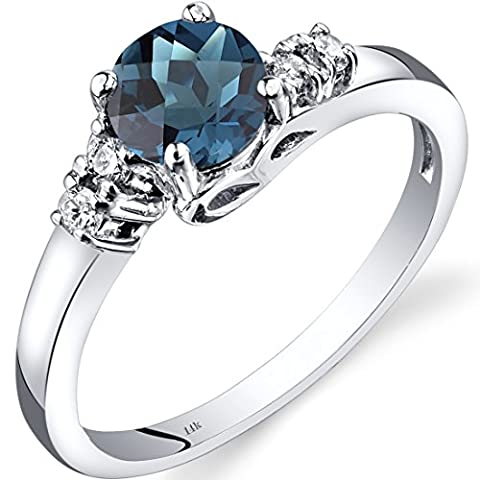 14ct Revoni or blanc London Blue Topaz diamant Solstice Anneau
