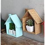 Creativa hermosa pequeña casa multiusos multi-carne planta estantes decorativos (azul)