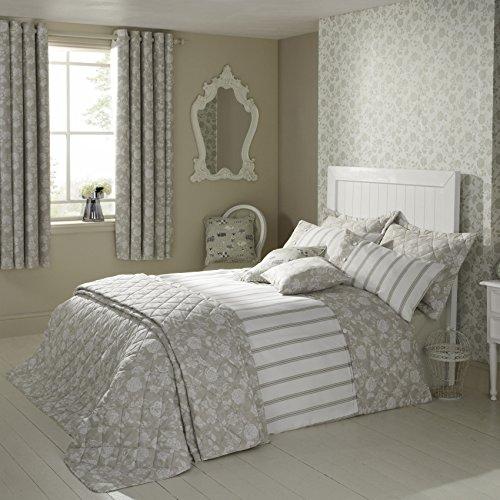iLiv Henley Natural Collection de linge de lit de jardin oiseau : 100% coton Percale & Housse de couette à rayures/motif fleuri Super King Housse