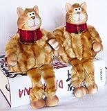 DENK 2 Katzen aus Keramik und Textil Katze sitzend 22 cm 2er Set