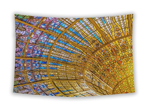 Wall Tapestry for Bedroom Hanging Art Decor College Dorm Bohemian, Palau De La Musica Catalana Glassstained Skylight, 60x51