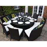 Madrid Grey Rattan Garden or Conservatory 10 Seat Round Dining Furniture Set