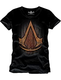 T-shirt Assassins Creed Insignia Wood logo en bois coton noir