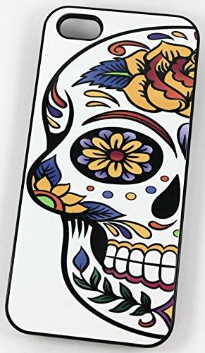 Sucre Crâne Demi Visage Motif Tattoo (Coque rigide en plastique pour iPhone 5/5S Noir/Housse/)