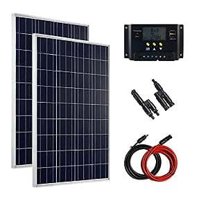 Giosolar Kit panneau solaire 200W 12V pour camping car complet r¨¦gulateur de charge solaire LCD module solaire pile solaire polykristallin