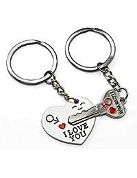 2llavero corazón y llave de séparer, I Love You para pareja. B2.