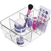 mDesign portaoggetti in plastica - portatrucchi ideale per la conservazione di cosmetici e creme - ottimo per il bagno come organizer trucchi - colore trasparente