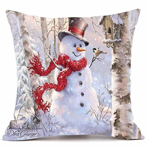 mingfa weicher Weihnachten Kissenhülle Überwurf Kissen Case Square Santa Claus Weihnachts Schneemann Deer Druck Kissenbezüge, Flax, I, Size: 45cm*45cm (Schneemann-kissen Zustand)