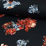 Stoffe Werning Viskose Jersey Blumen Rot Blau Modestoff