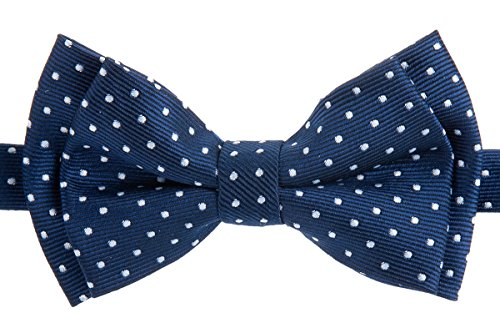 Retreez Moderner Mini Polka Dots Gewebte Mikrofaser Epoint Boy 's Fliege Gr. 130 cm, Navy Blue with White Dots (Preppy Kleidung Boy)