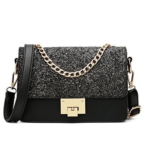 Maod Mode Umhängetasche Mädchen Taschen Damen Schultertasche leder Handtasche klein Damenhandtasche Metallgriff Henkeltasche Abendhandtasche (Schwarz)