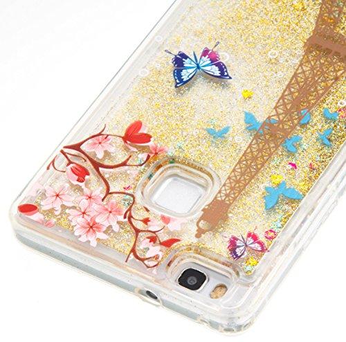 für Huawei P9 Lite Hülle, 3D Fließen Flüssig Schwimmend Treibsand Stern Bling Luxus Shiny Glanz Sparkle Kristall Crystal Bunte der Liebe Design zurück Tasche Schutzhülle für Huawei P9 Lite Liquid Case 7