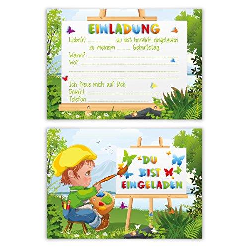 Einladungskarten Kindergeburtstag Jungen Mädchen 8 Stück Karten - Maler