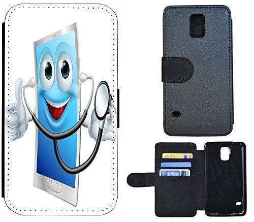 FioMi-Protect Schutz Hülle Flip Cover Handy Tasche Etui Case für (Samsung Galaxy S5 Neo, 1081 Cartoon Tablet Doktor Arzt) -