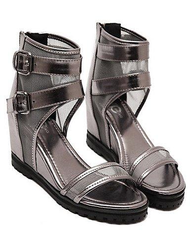 UWSZZ Die Sandalen elegante Comfort Schuhe Frau Kunstleder Keil offene Sandalen Casual Schwarz/Silber Silver