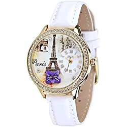 Fashion Luxury Rhinestone Leather Strap Quartz Women Girl Wrist Watch,White