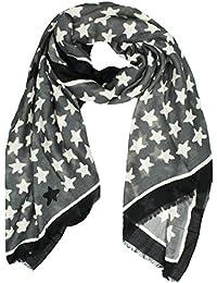 Mevina Damen Schal Stern Star Sterne Retro Vintage Print Muster Baumwolle groß Tuch Halstuch Premium Qualität