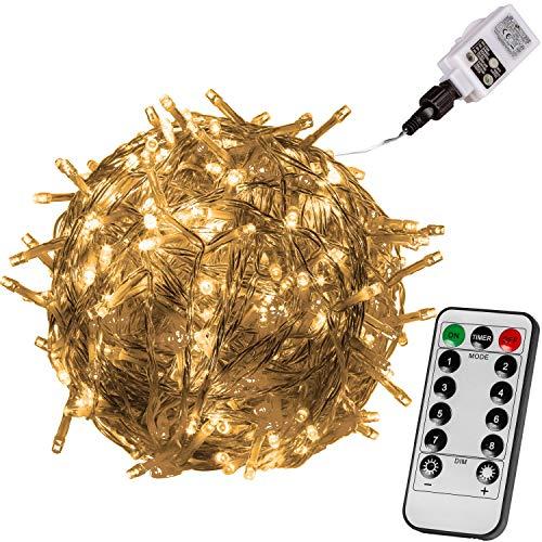 VOLTRONIC LED Lichterkette für innen und außen, Größenwahl: 50 100 200 400 600 LEDs, erhältlich in: warmweiß/kaltweiß/bunt, GS geprüft, IP44, optional mit 8 Leuchtmodi/Fernbedienung/Timer