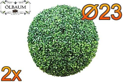 2X Buchsbaum, große Buchsbaumkugel Ø 23 cm 230 mm grün dunkelgrün