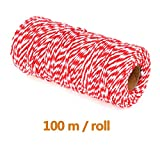 ATPWONZ Cotton Bakers Twines, 1mm Cooking String Christmas Twine for Arts Crafts and Gift Wrapping, 328 Feet (Red)