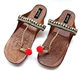 Black & Gold Kolhapuri Chappals Embellished with Red Balls and Crystals, Ethnic Indian Designer Sandals
