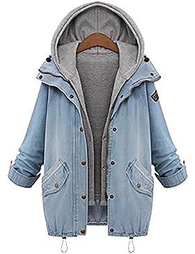 Mujeres Otoño Invierno Mezclilla Abrigo Con Capucha Chaquetas Capa Chamarra Doble Abrigos Azul Claro M