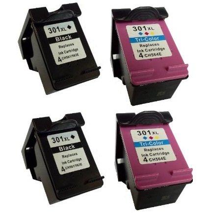 4 Cartucce d'inchiostro per HP DeskJet 2000, 2050, 2050A, 2050S, 2050se, 2054A, 2510, 2540, 3000, 3010, 3050, 3050A, 3050S, 3050se, 3050ve, 3052A, 3054A, 3055A, 1000, 1050, 1050A, 1050S, 1055 | compatibile con HP 301 XL