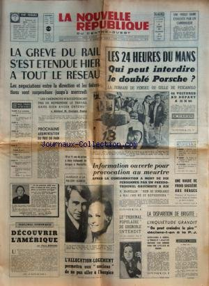 NOUVELLE REPUBLIQUE (LA) [No 8129] du 12/06/1971 -...