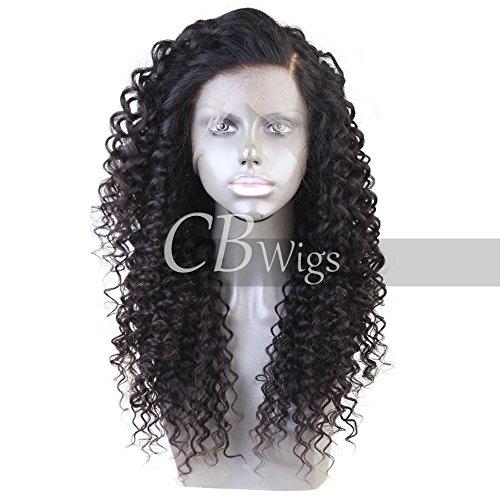 cbwigs Natürliche brasilianisches Remy Deep Wave 360fronthaar Perücke klebefreien 360Echthaar Perücken für schwarz Frauen mit pre-plucked Haaransatz und Baby Haarspange