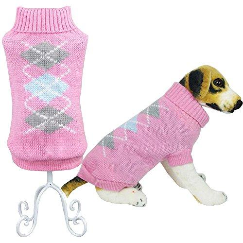 Bolbove Pet Classic Argyle Rollkragen Pullover für Kleine Hunde & Katzen Maschenware, Large, Rose (Party Store-santa Rosa)