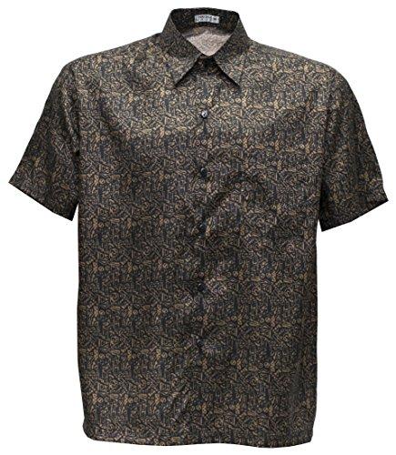 Camiseta para hombre de manga corta de seda tailandesa estampada pequeño oro, dorado, XL