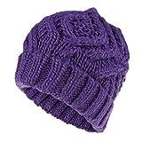 Mdder Damen einfache gewebte Kindermütze Wintermütze warme Schwerkraft Herbstmütze weiblichen Hut - Lila X a1