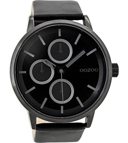 Oozoo Herrenuhr mit Lederband 49 MM Black/Schwarz/Schwarz C9429