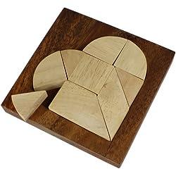 Puzzle Corazón pequeño - Juego de ingenio - Rompecabezas - Juego de paciencia en caja de madera fina - 10 cm x 10 cm x 1,5 cm