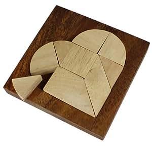 Kleines Herz Puzzle aus hellem Holz - Legespiel - Denkspiel - Knobelspiel - Geduldspiel in edler Holzbox - 10 cm x 10 cm x 1,5 cm