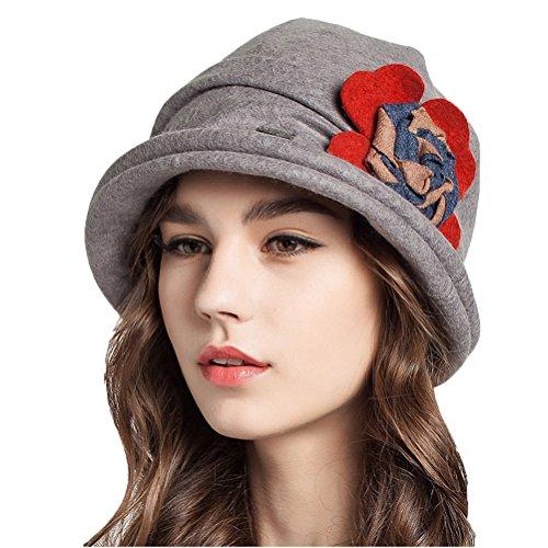 Maitose™ Frauen dekorative Blumen Wolle Bucket Hat Light Gray