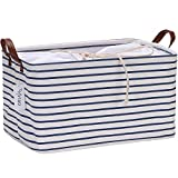 Hinwo 31L Large Capacity Storage Basket Canvas Fabric Storage Bin Collapsible Storage Box with PU Leather Handles and Drawstring Closure, 16.5 by 11.8 inches