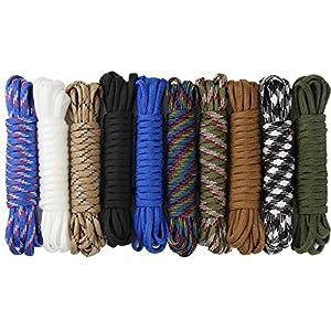 aufodara 10er Paracord Armband Schnüre Fallschirmschnur Survival 7 Strängen Nylon Seil DIY Handgemachte Webart für…