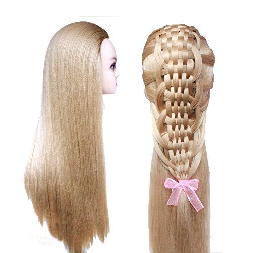 topbeauty Blond cendré de coiffure cheveux synthétiques pratique Formation Tête Poupée Mannequin avec pince