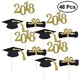 BESTONZON Graduación Black Cap Cake Topper Gold Glitter 2018 primeros de la magdalena, herramientas de decoración para la fuente de la fiesta de graduación, 48pcs