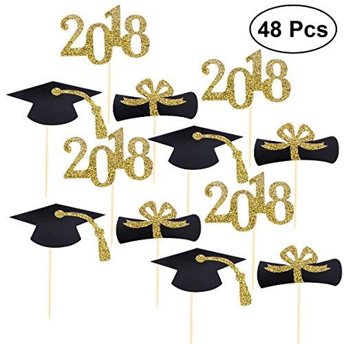 (BESTONZON Abschluss-schwarze Kappe Cake Topper Gold Glitter 2018 Cupcake Toppers, Dekorieren Tools für Abschluss Party Supply, 48st)