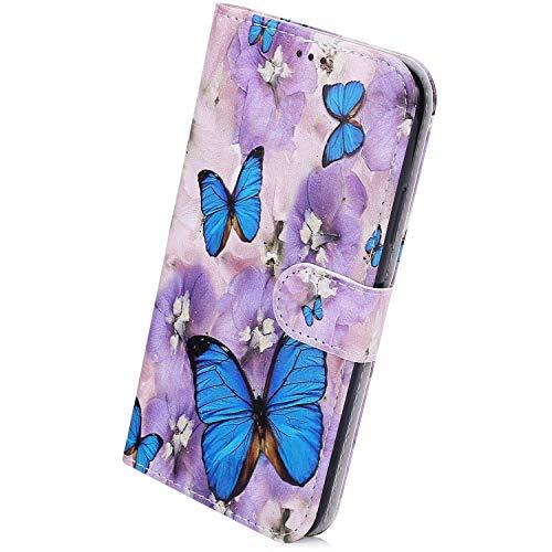 Herbests Kompatibel mit Samsung Galaxy Note 10 Handyhülle Leder Hülle Bunt Motiv Muster Leder Flip Schutzhülle Tasche Wallet Case Kartenfach Standfunktion Magnetverschluss,Blau Schmetterling