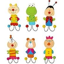Inware - Ganchos para ropa, Gancho de la pared, Ganchos Para Ropa, 6 Set, varios motivos - Motivos animales de colores