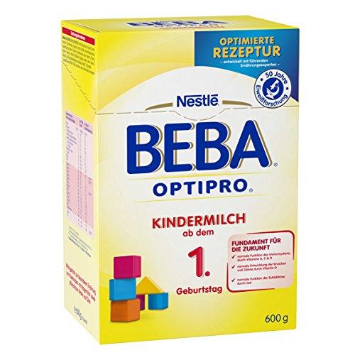 Nestlé BEBA Optipro Kindermilch ab dem 1 Geburtstag, Pulver, in der wiederverschließbaren Faltschachtel, 6er Pack (6 x 600 g)