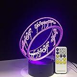 Herr der Ringe 3D Illusion Schreibtischlampe 7 Farbe 3D Lampe Kinder Geschenk Touch Nachtlicht für Kinder Urlaub Geschenk