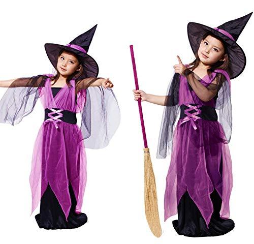 LYQ Princess Kinder Halloween Kostüm Mädchen Lila Fledermaus Halloween Hexe Cosplay Kleid Kostüm 4-12 Jahre