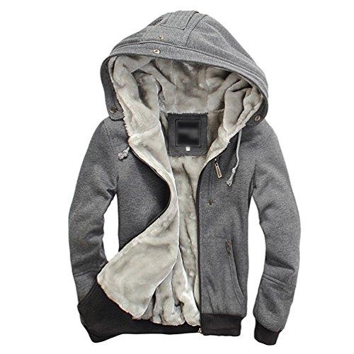 Sentao Herren Herbst Winter Faux Fleecemantel Sweatshirt Kapuzenpullover Gefüttert Sweatjacke Jacke Mantel mit Kapuzen