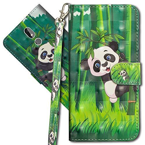 MRSTER Nokia 3.2 Handytasche, Leder Schutzhülle Brieftasche Hülle Flip Case 3D Muster Cover mit Kartenfach Magnet Tasche Handyhüllen für Nokia 3.2. YX 3D - Panda Bamboo